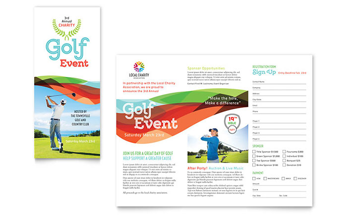Charity Golf Event Brochure Template Design - Fundraising brochure template