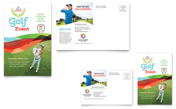 Charity Golf Event Postcard Template Design - Event postcard template