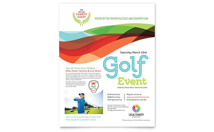 Charity Golf Event Flyer Template Design Download - InDesign, Illustrator, Word, Publisher, Pages