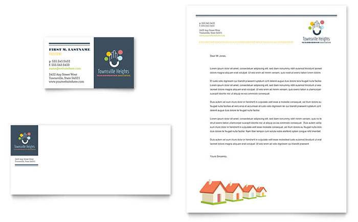 Homeowners Association Business Card Letterhead Template Design