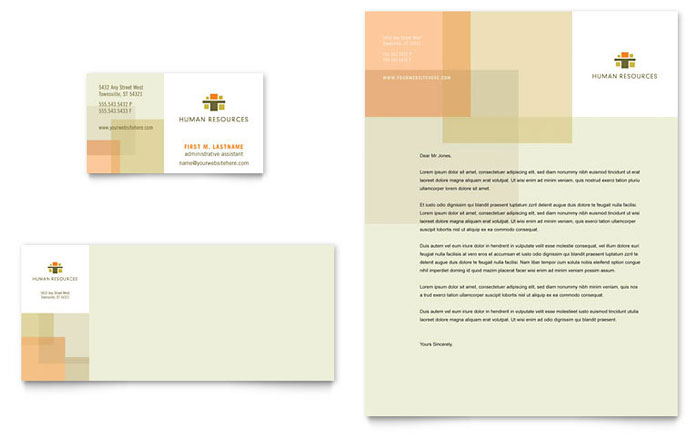 HR Consulting Business Card & Letterhead Template Design