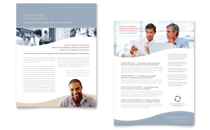 Marketing Consulting Group Datasheet Template Design Download - InDesign, Illustrator, Word, Publisher, Pages