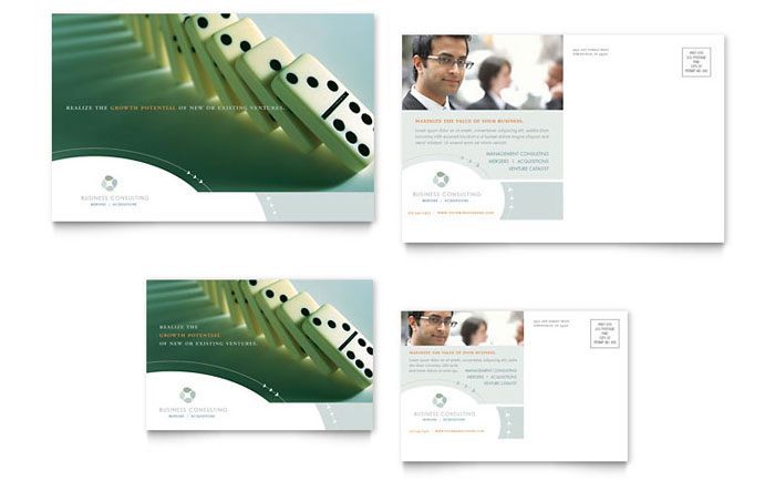 Business Consulting Postcard Template Download - InDesign, Illustrator, Word, Publisher, Pages