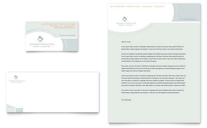 Business Consulting Business Card & Letterhead Template Design Download - InDesign, Illustrator, Word, Publisher, Pages