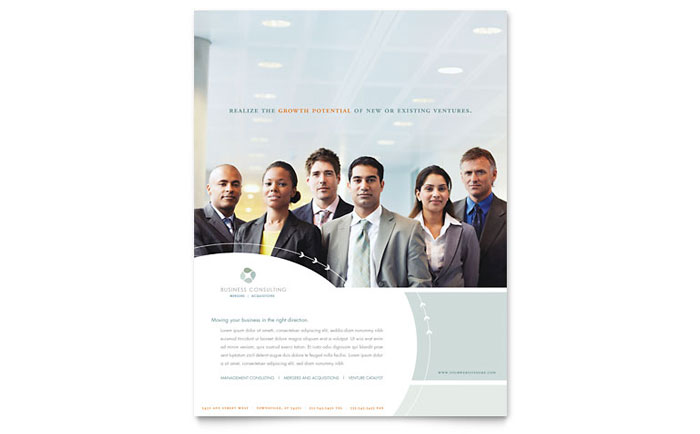 Business Consulting Flyer Template Design Download - InDesign, Illustrator, Word, Publisher, Pages