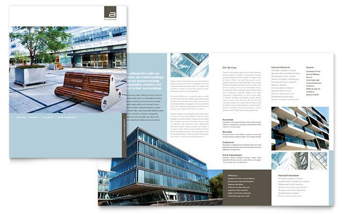 Architect brochure template design for Indesign interior