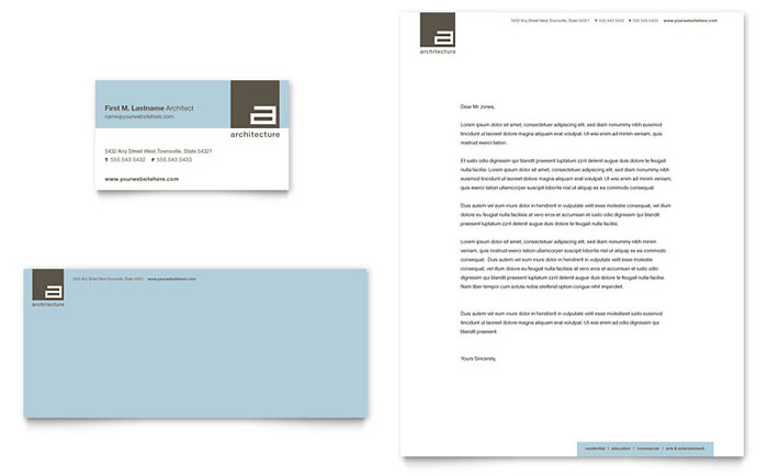architect business card  u0026 letterhead template design