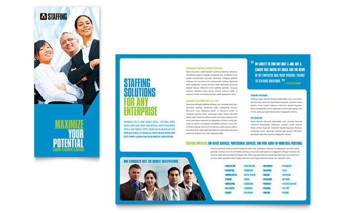 staffing recruitment agency brochure template design indesign illustrator word publisher