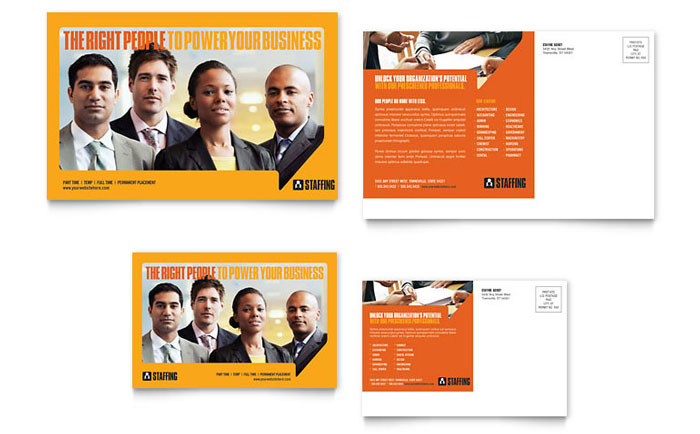 staffing recruitment agency postcard template design