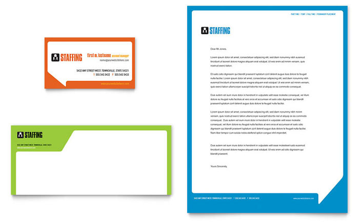 Staffing  Recruitment Agency Business Card  Letterhead Template
