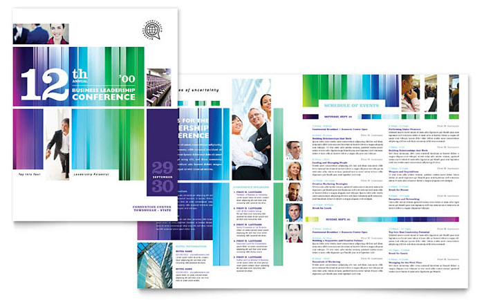 Business leadership conference brochure template design for Word template brochure