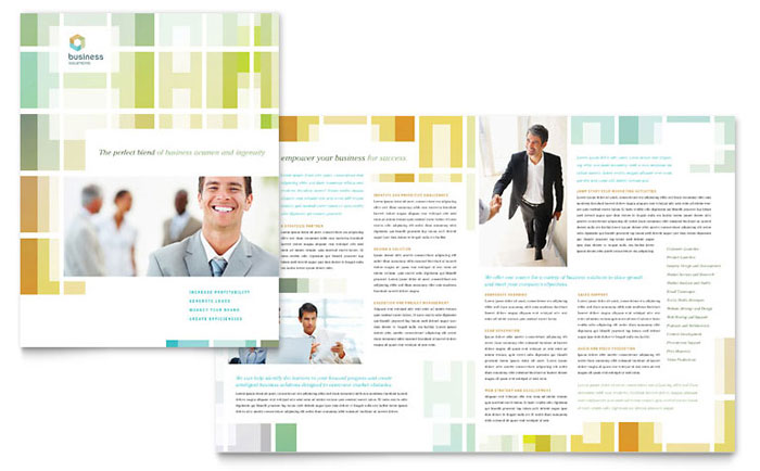 Business Solutions Consultant Brochure Template Design Download - InDesign, Illustrator, Word, Publisher, Pages