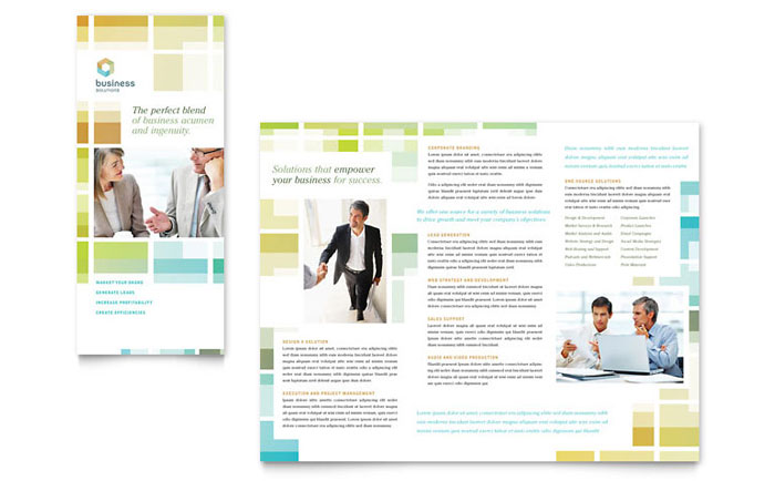 Business solutions consultant tri fold brochure template for Business design consultant