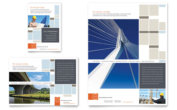 Civil engineers flyer ad template design for Construction brochure design pdf