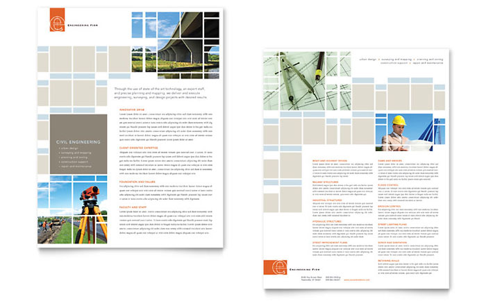 Civil engineers datasheet template design for Engineering brochure templates free download