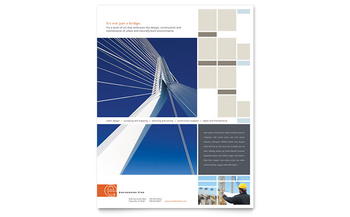 Civil Engineers Flyer Template Design Download - InDesign, Illustrator, Word, Publisher, Pages