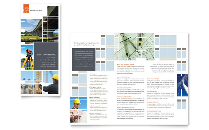 Civil Engineers Tri Fold Brochure Template Design - InDesign, Illustrator, Word, Publisher, Pages