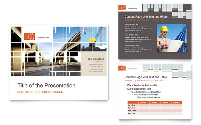 civil engineers powerpoint presentation template design, Presentation templates