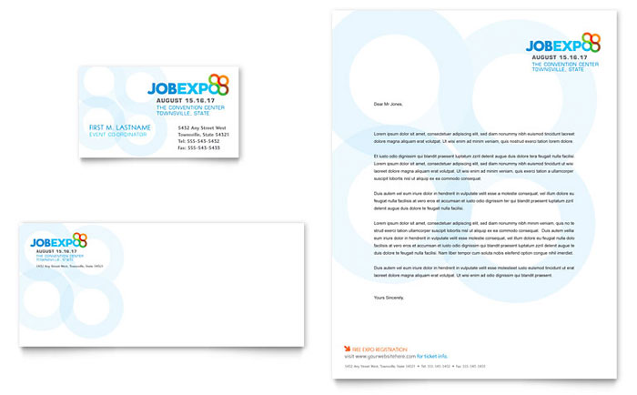 Job expo career fair business card letterhead template design reheart Choice Image