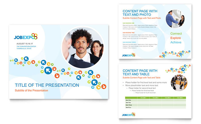 Job Expo Amp Career Fair Powerpoint Presentation Template Design