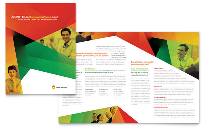 Public relations company brochure template design for Marketing brochure template