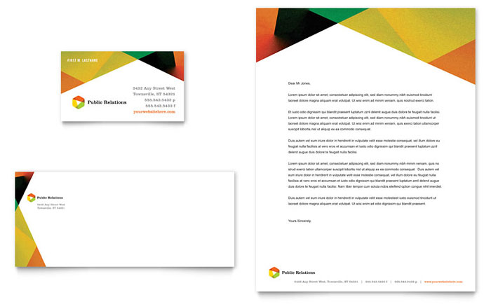 Public Relations Company Business Card & Letterhead Template Design - InDesign, Illustrator, Word, Publisher, Pages