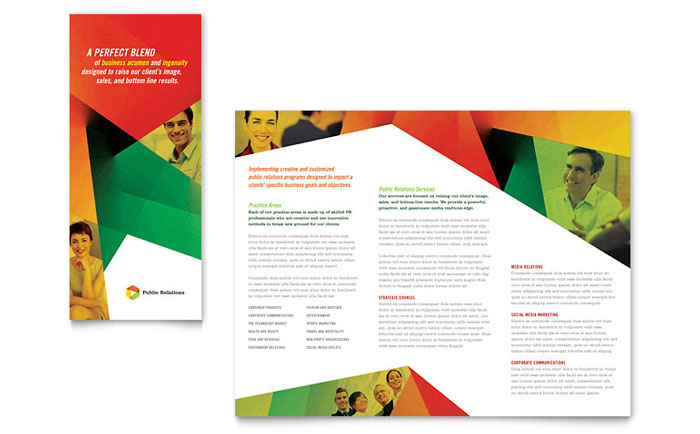 Public Relations Company Tri Fold Brochure Template Design - Template of a brochure