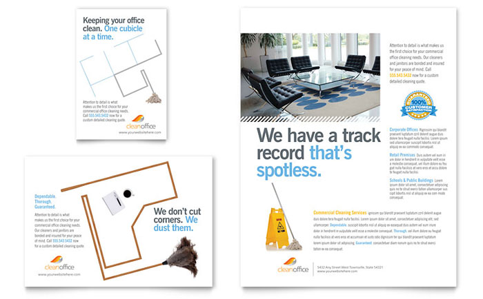Janitorial amp Office Cleaning Flyer Ad Template Design