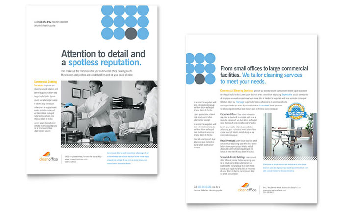 Janitorial & Office Cleaning Datasheet Template Design