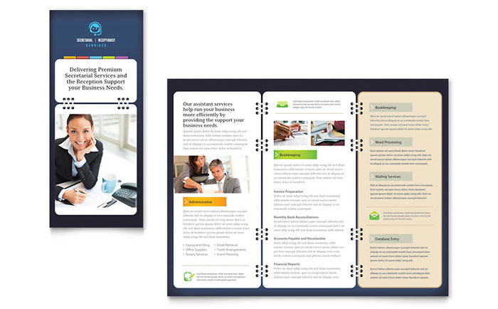 Secretarial services tri fold brochure template design for It services brochure template