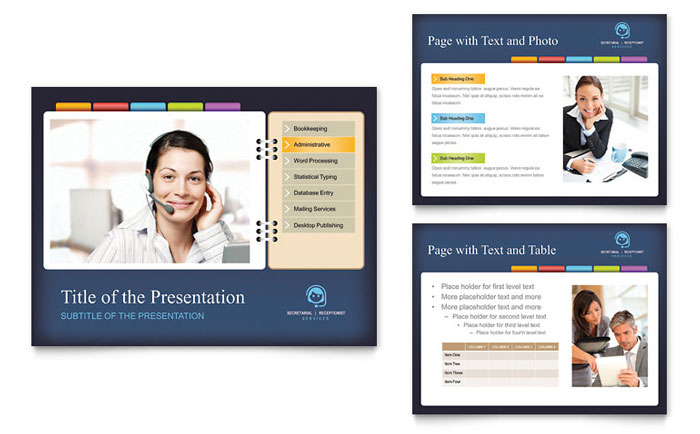 Secretarial Services PowerPoint Presentation Template Design