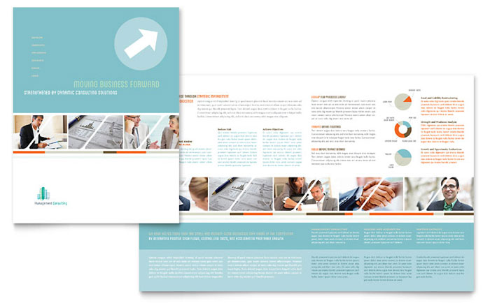 Management consulting brochure template design for Design consultancy