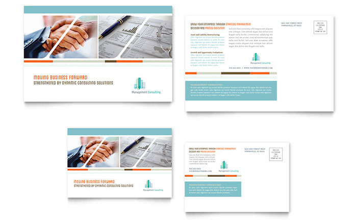 Management Consulting Postcard Template Design Download - InDesign, Illustrator, Word, Publisher, Pages