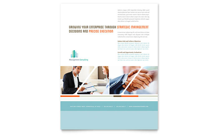 Management Consulting Flyer Template Design Download - InDesign, Illustrator, Word, Publisher, Pages