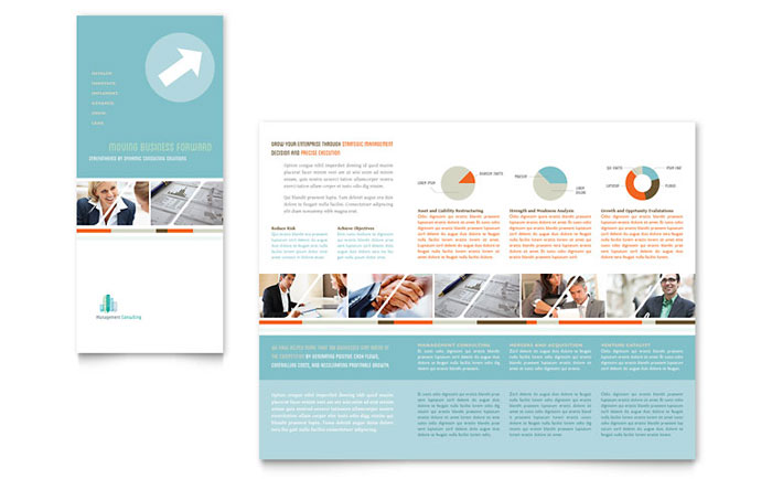 Management Consulting Tri Fold Brochure Template Design - Publisher tri fold brochure templates free