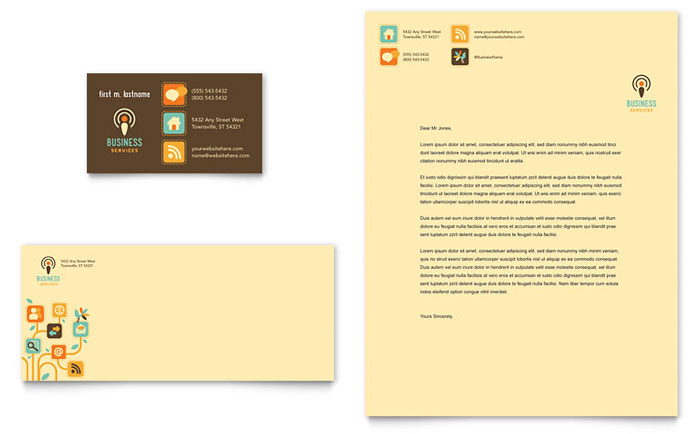 Business Services Business Card & Letterhead Template Design Download - InDesign, Illustrator, Word, Publisher, Pages