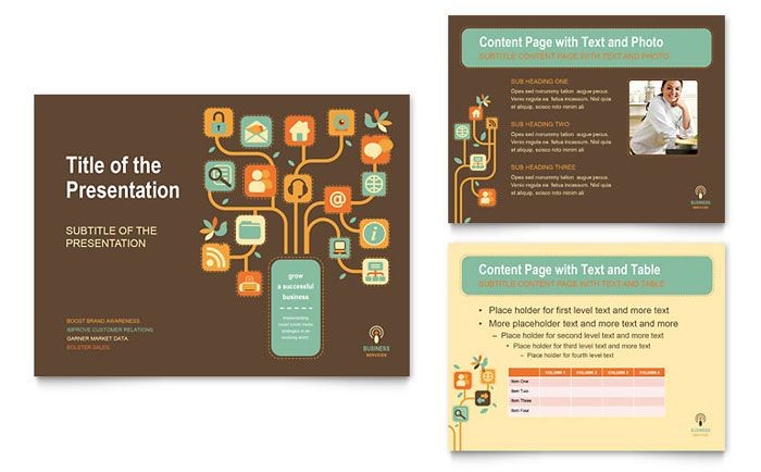 powerpoint brochure template - business services powerpoint presentation template design