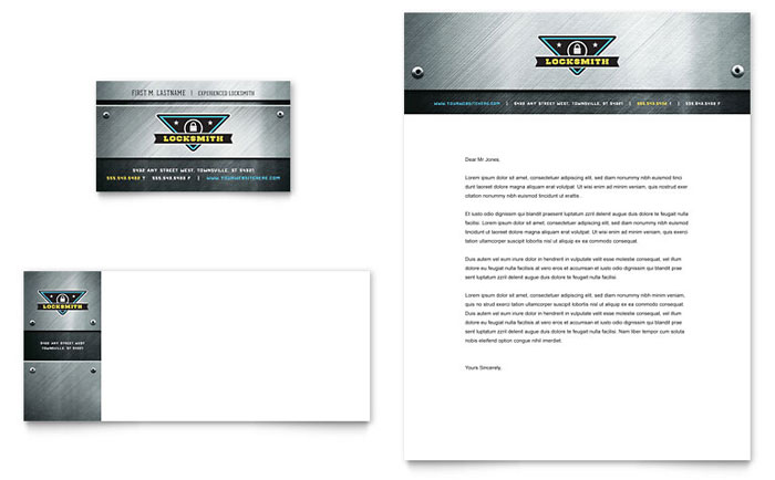 Locksmith business card letterhead template design colourmoves