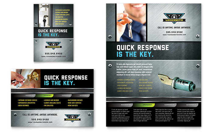 Locksmith Flyer & Ad Template Design Download - InDesign, Illustrator, Word, Publisher, Pages