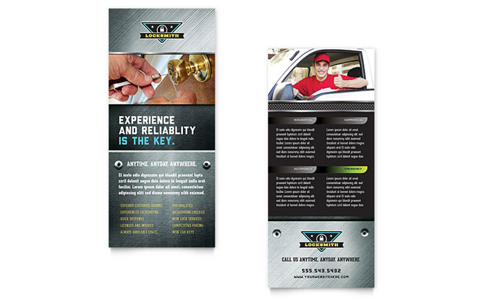 Locksmith Rack Card Template Download - InDesign, Illustrator, Word, Publisher, Pages