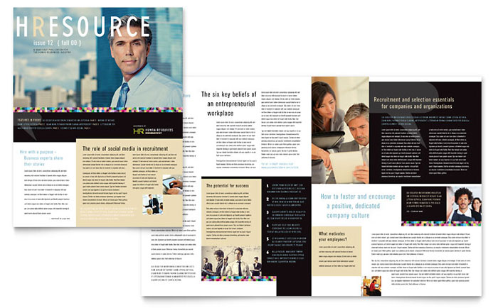 human resource management newsletter template design
