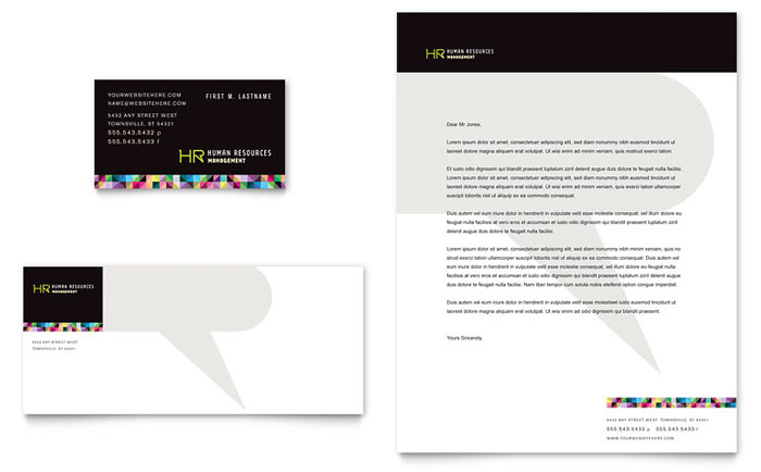 human resource management business card letterhead template design