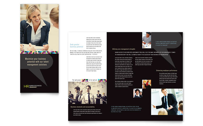 Human Resource Management Tri Fold Brochure Template Design Download - InDesign, Illustrator, Word, Publisher, Pages