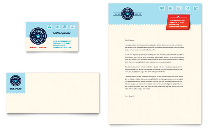 Laundry Services Business Card & Letterhead Template Design Download - InDesign, Illustrator, Word, Publisher, Pages