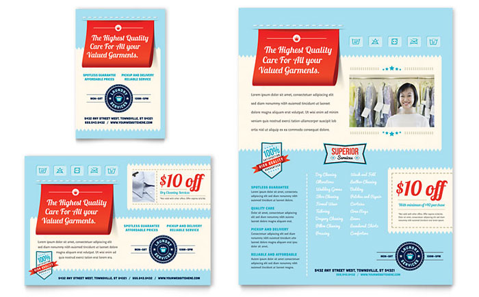 Laundry services flyer ad template design for Ironing service flyer template