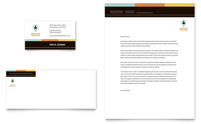 Recruiter Business Card & Letterhead Template Design Download - InDesign, Illustrator, Word, Publisher, Pages