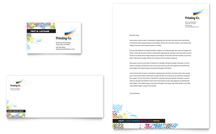 Printing company business card letterhead template design accmission Choice Image