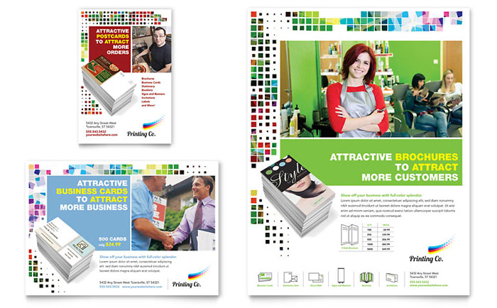 Printing company flyer ad template design for Advertising sales companies