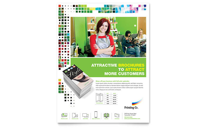 Printing Company Flyer Template Design Download - InDesign, Illustrator, Word, Publisher, Pages