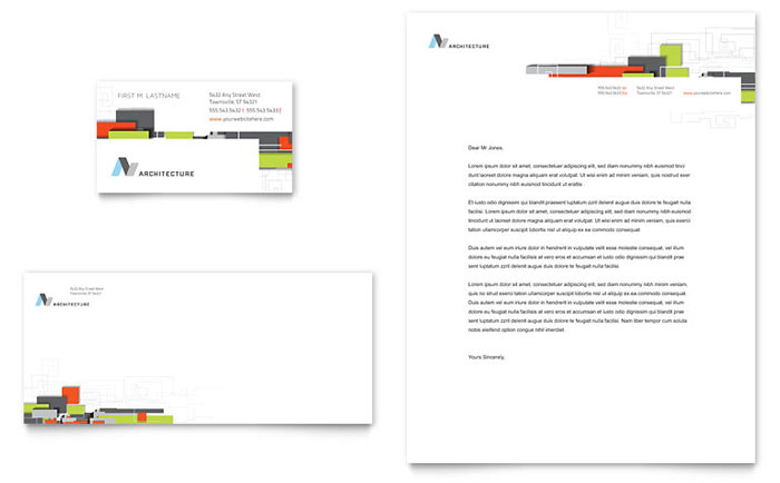 Architectural Design Business Card Letterhead Template